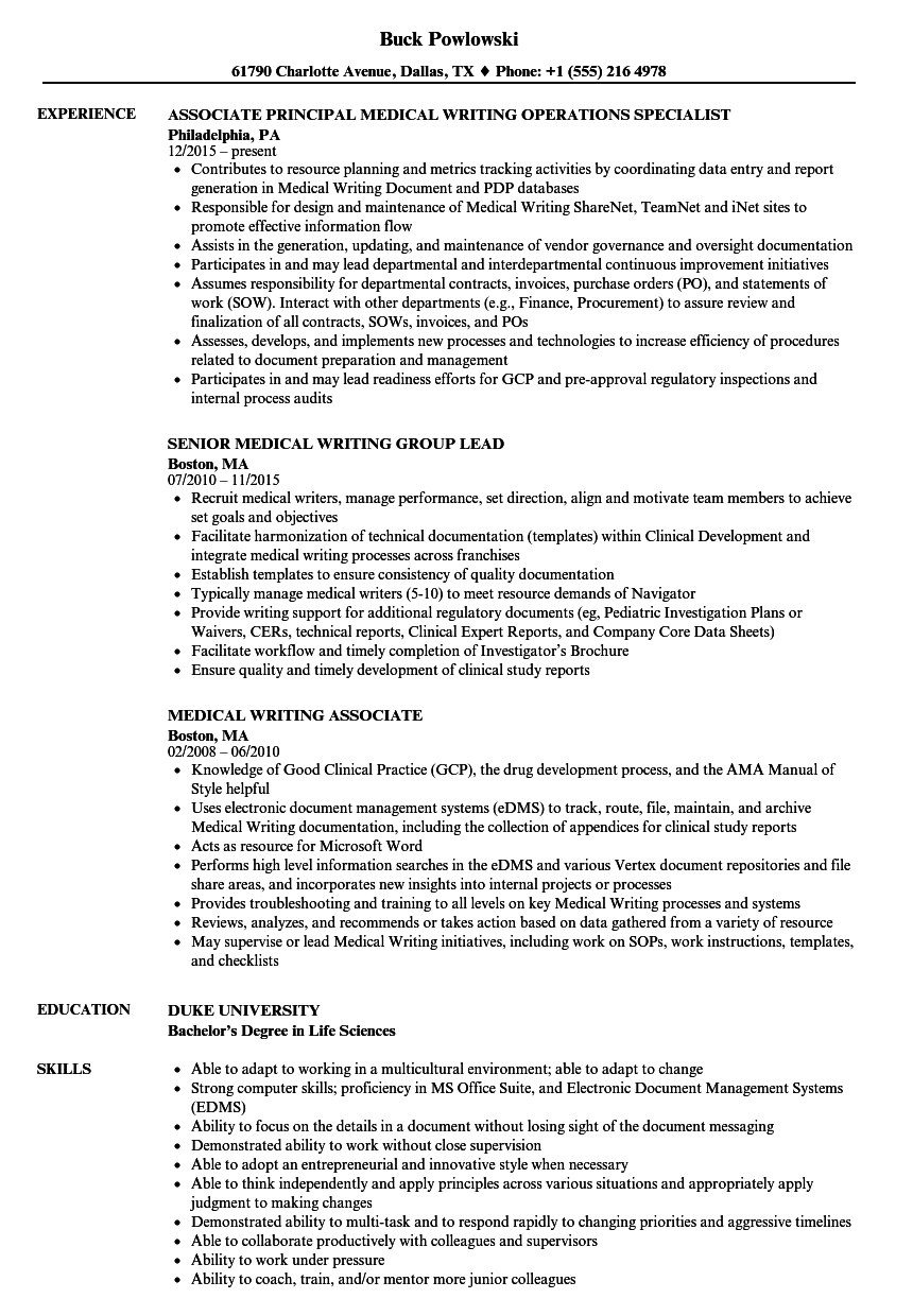 medical writing resume samples