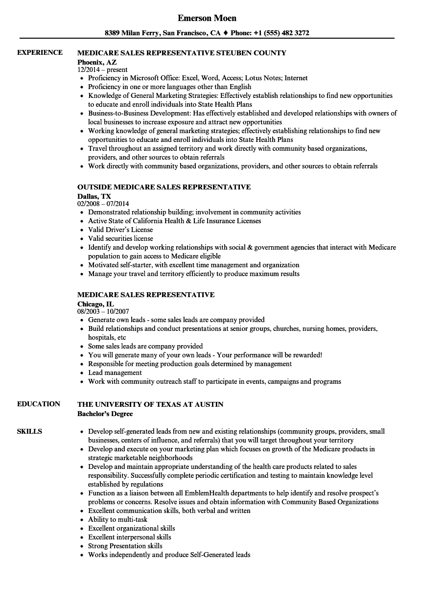 medicare sales representative resume samples