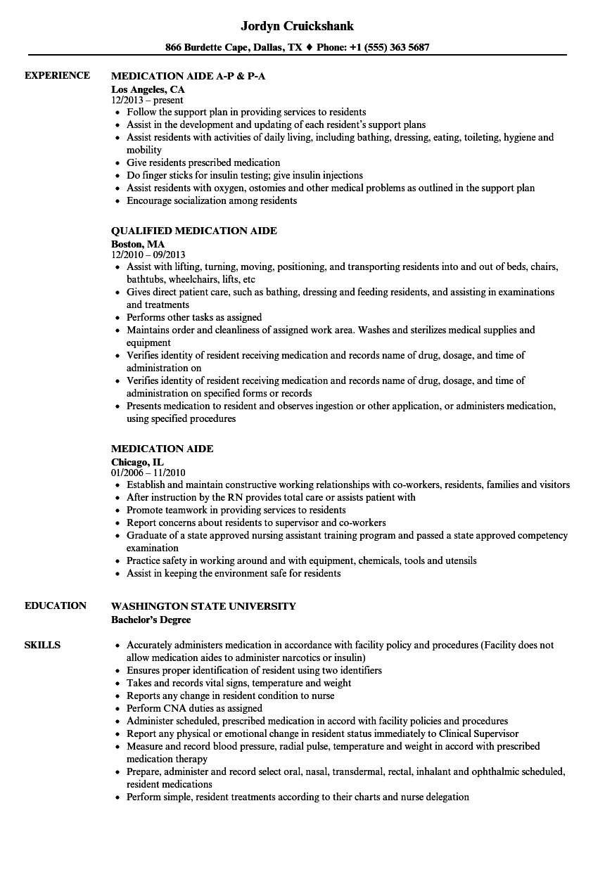 Medication Aide Resume Samples Velvet Jobs