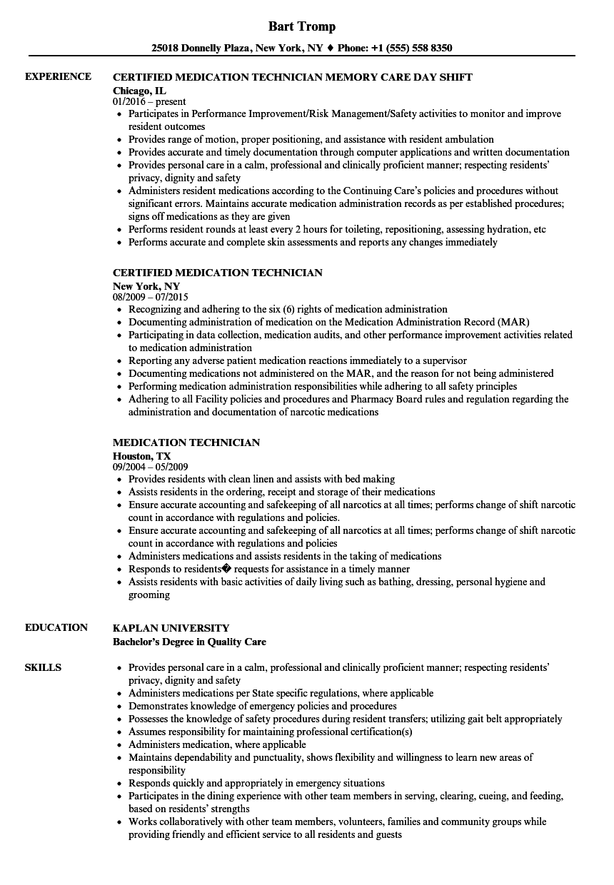 medication technician resume - Ideal.vistalist.co