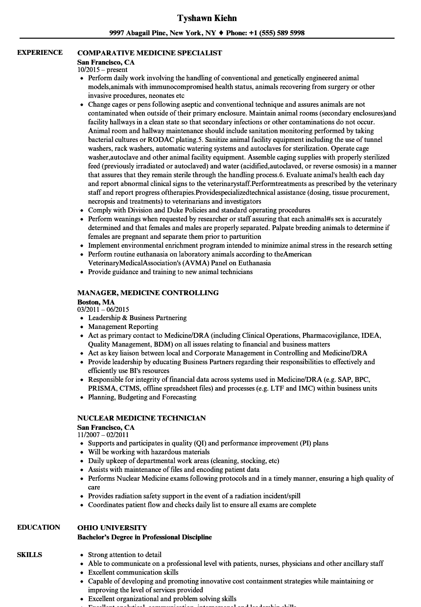 Medicine Resume Samples Velvet Jobs