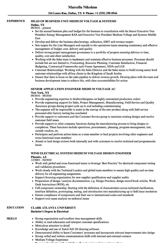 medium voltage resume samples