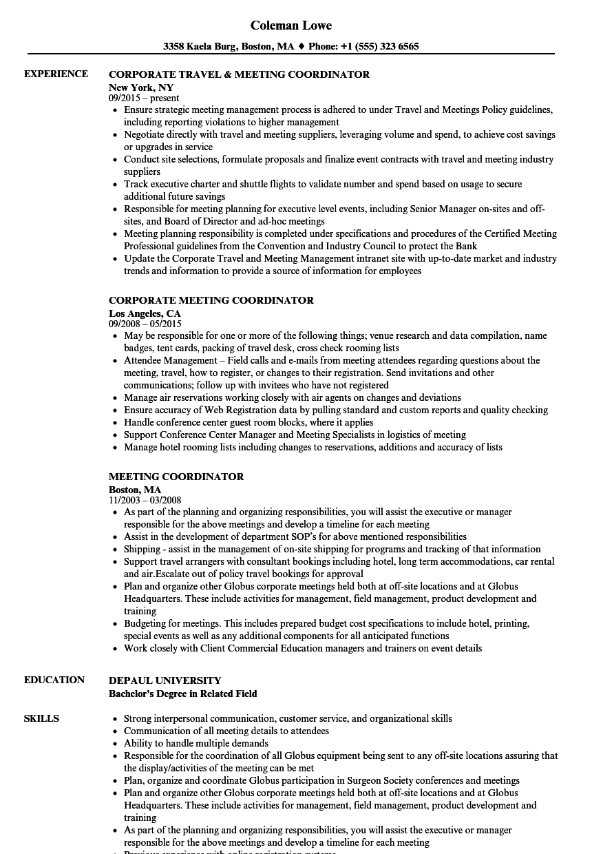 Meeting Coordinator Resume Samples Velvet Jobs