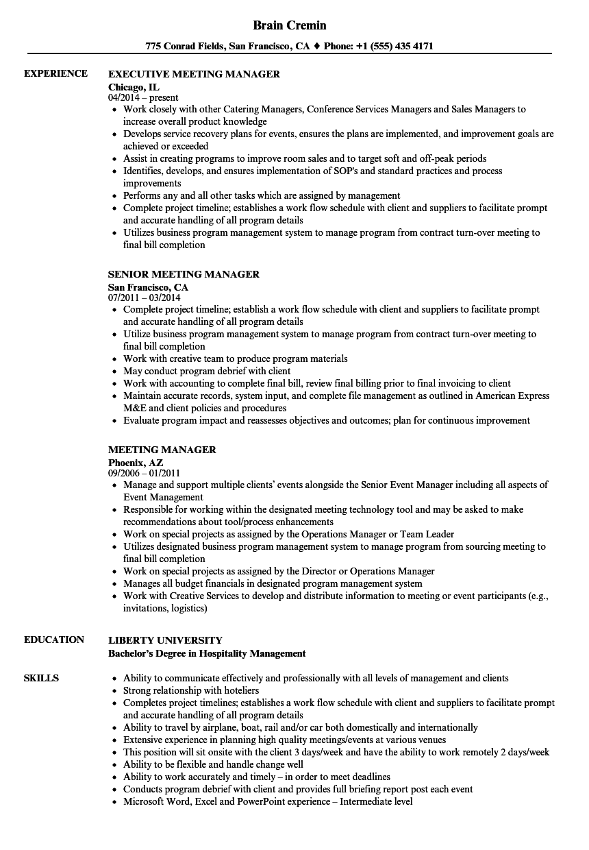 meeting manager resume samples