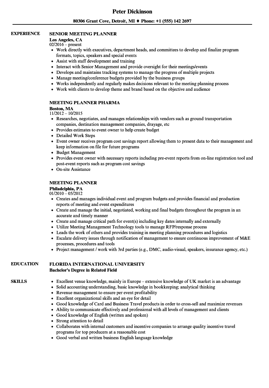 Meeting Planner Resume Samples Velvet Jobs