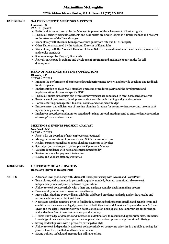Meetings & Events Resume Samples | Velvet Jobs
