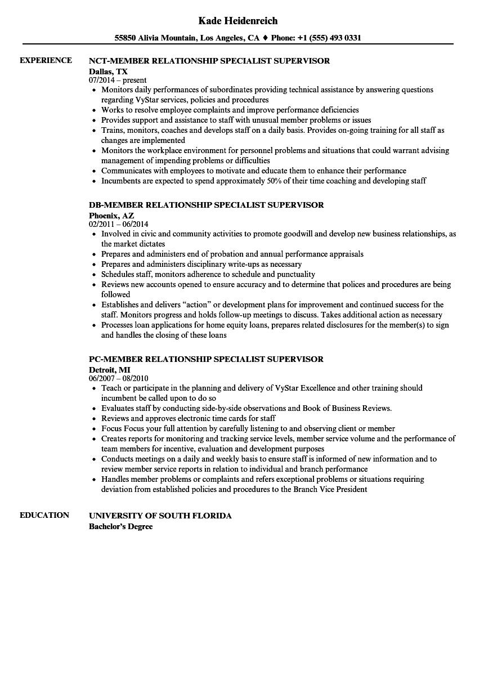 member relationship specialist resume samples