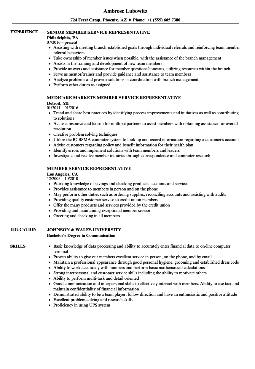 download member service representative resume sample as image file