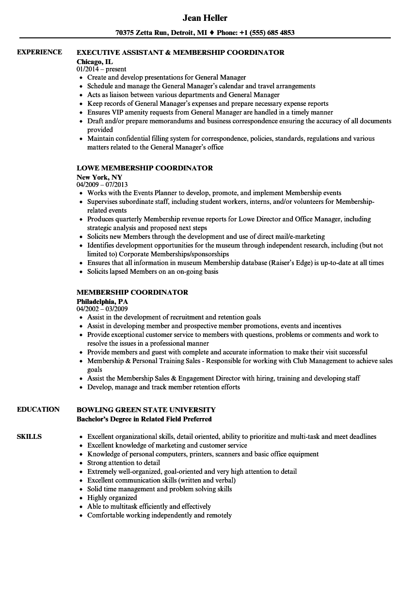 Membership Coordinator Resume Samples | Velvet Jobs