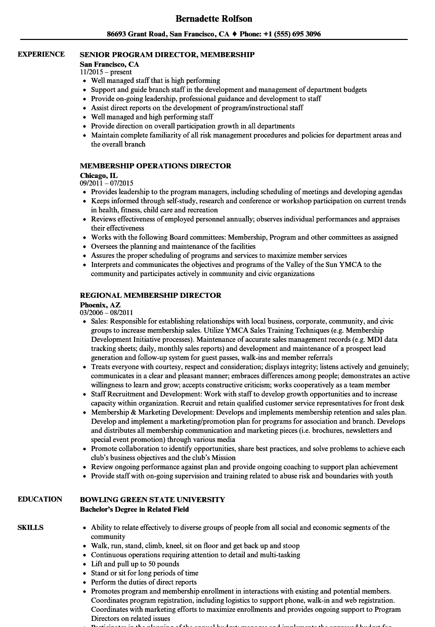 membership director resume samples