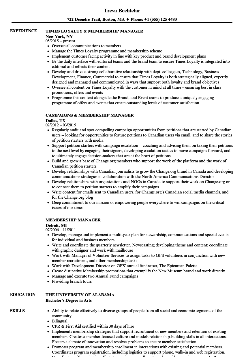 Membership Manager Resume Samples Velvet Jobs