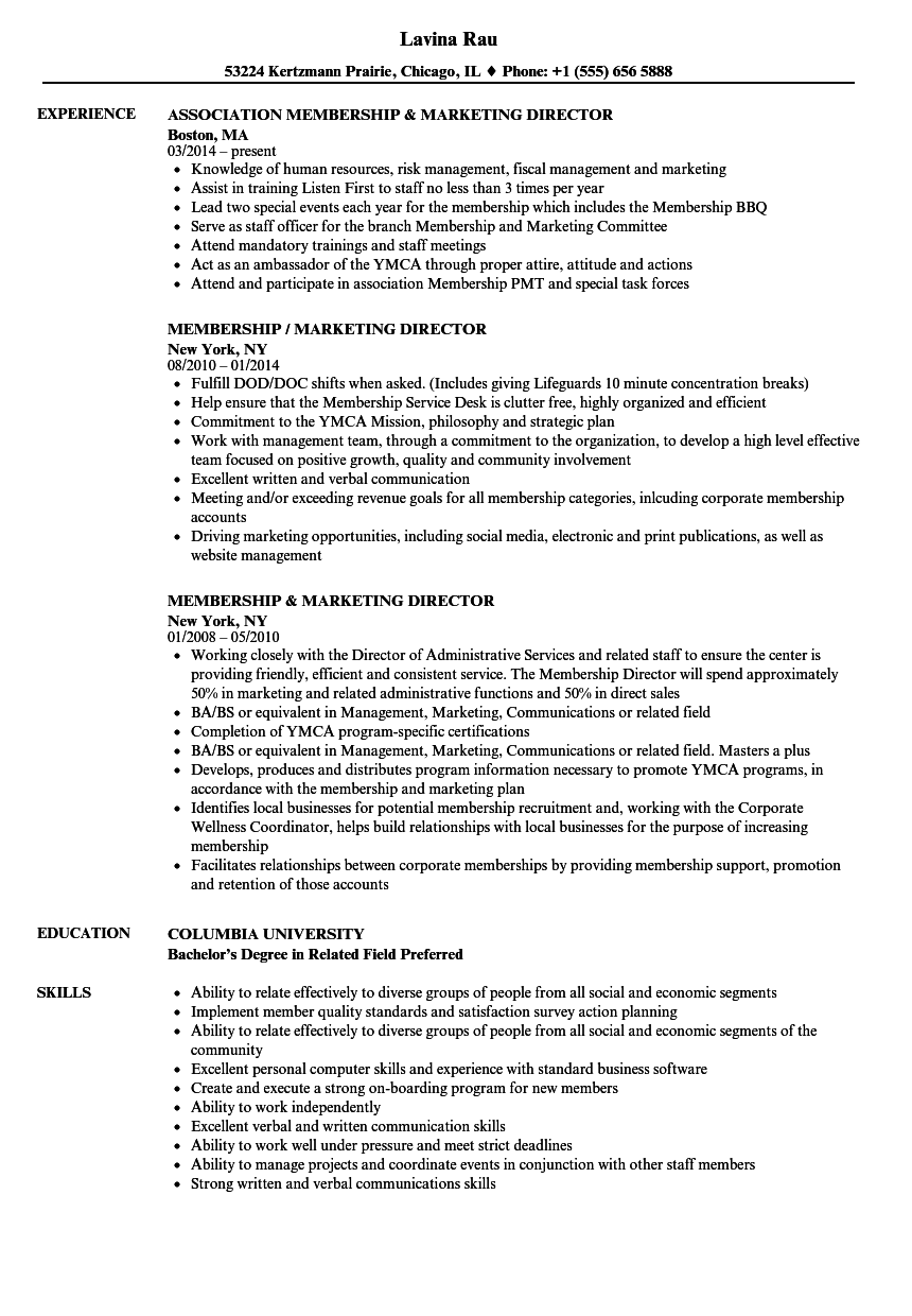 Download Membership / Marketing Director Resume Sample As Image File