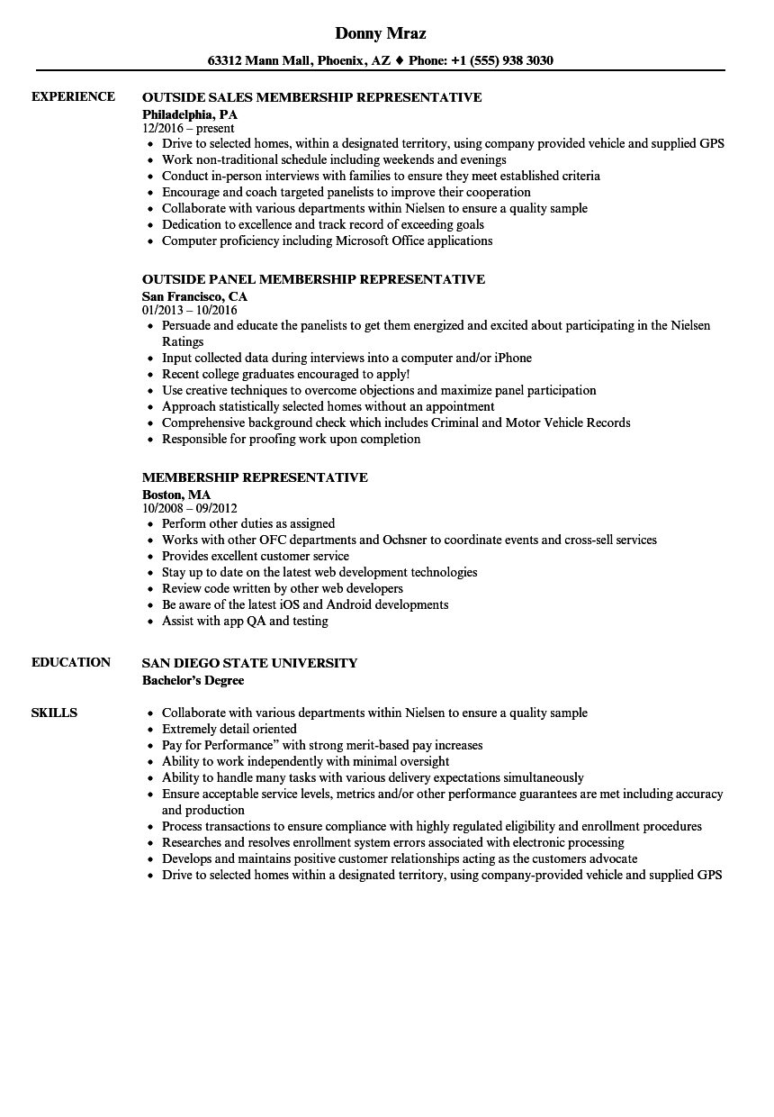 download membership representative resume sample as image file - Up To Date Resume Samples