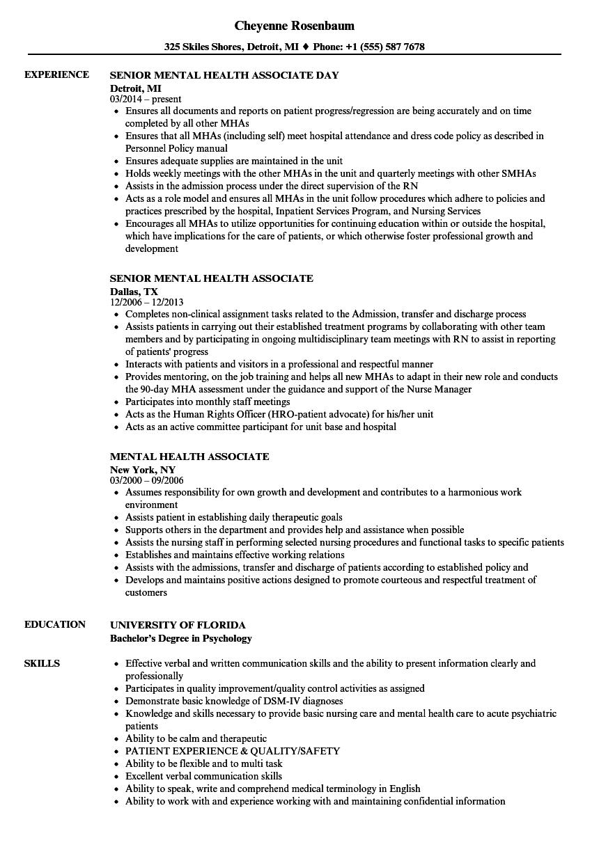 Mental Health Associate Resume Samples | Velvet Jobs