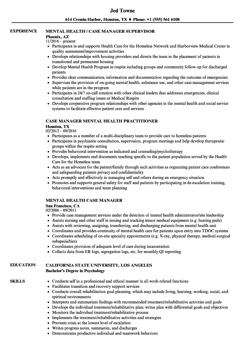 mental health case manager resume samples