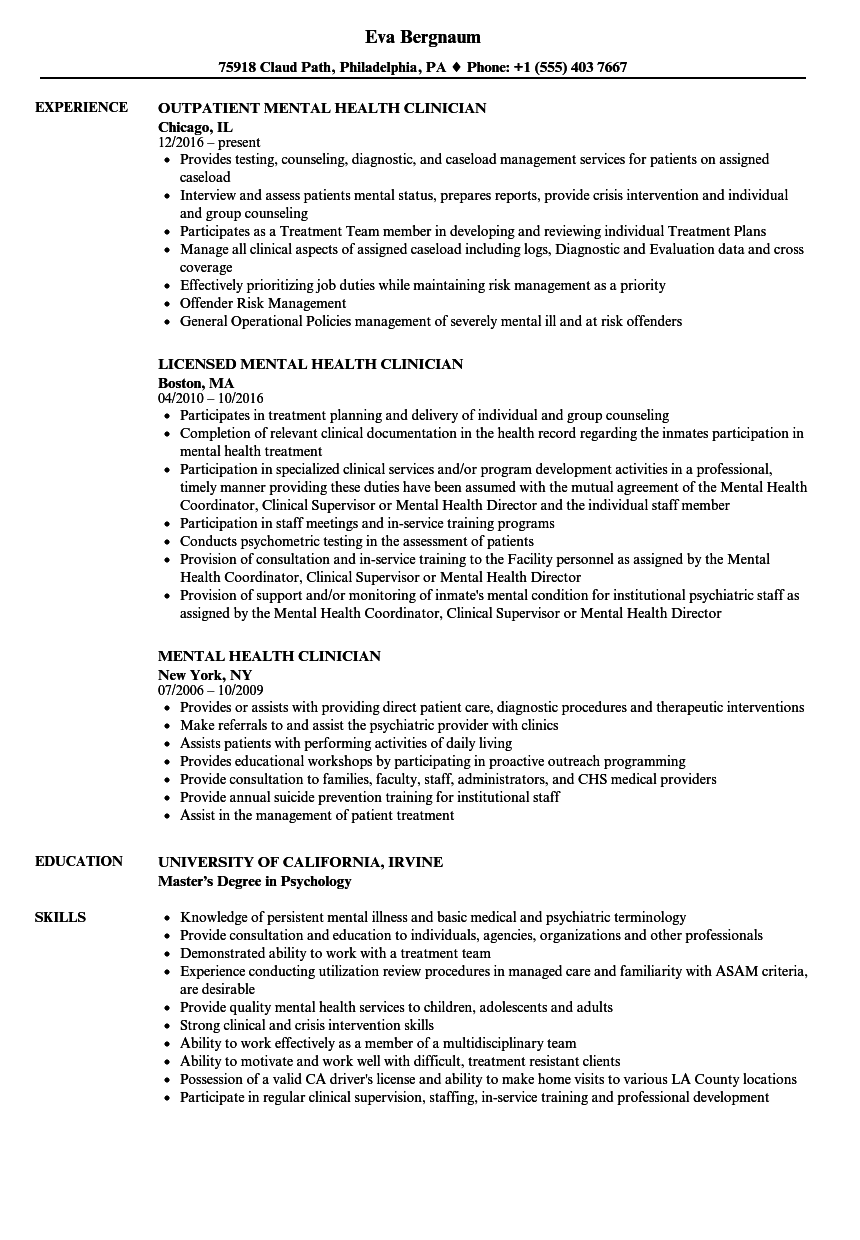 mental health clinician resume samples