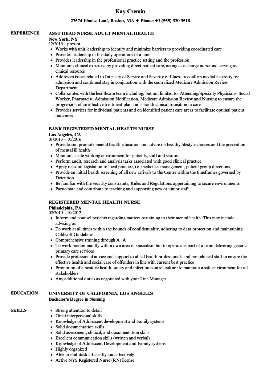 Mental Health Nurse Resume Samples Velvet Jobs