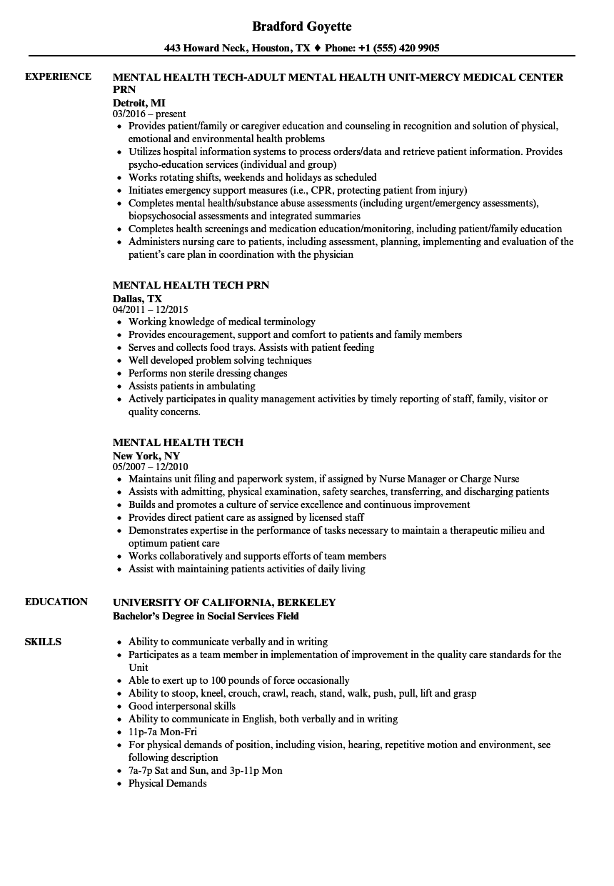Mental Health Tech Resume Samples Velvet Jobs