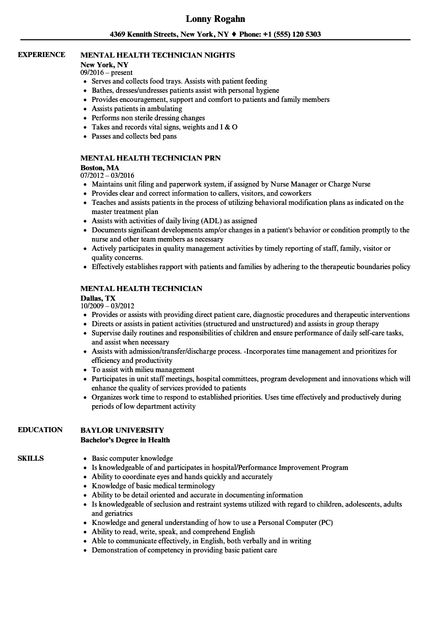 Mental Health Technician Resume Samples | Velvet Jobs