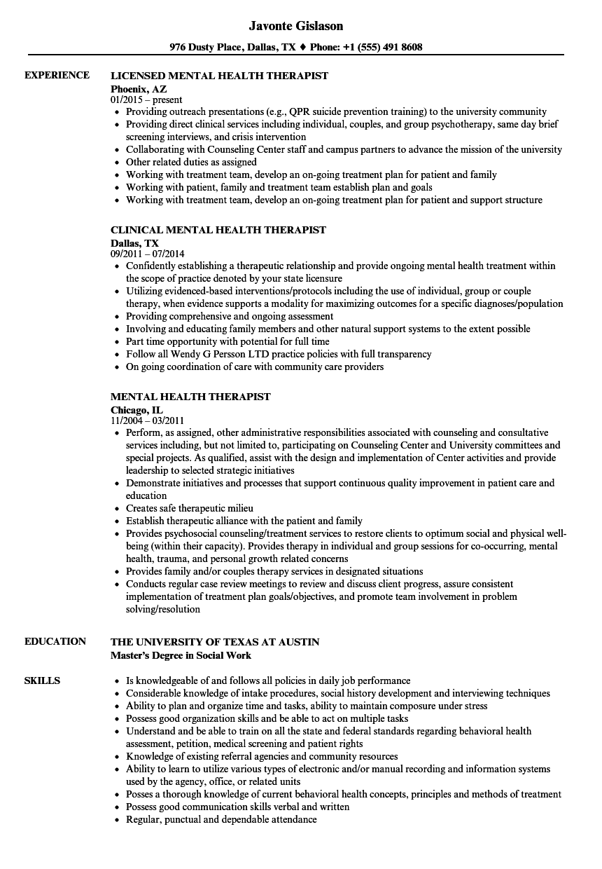 Mental Health Therapist Resume Samples | Velvet Jobs