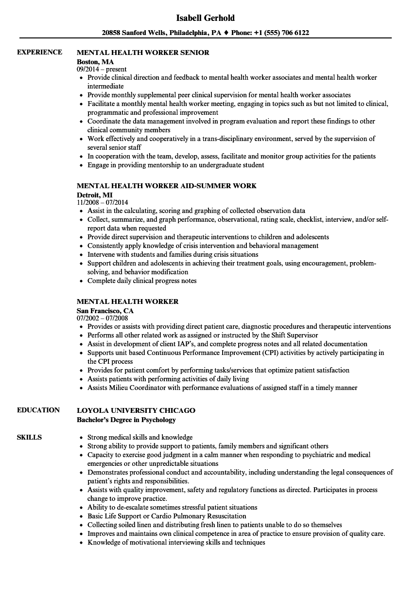 Mental Health Worker Resume Entrancing Mental Health Worker Resume Samples  Velvet Jobs