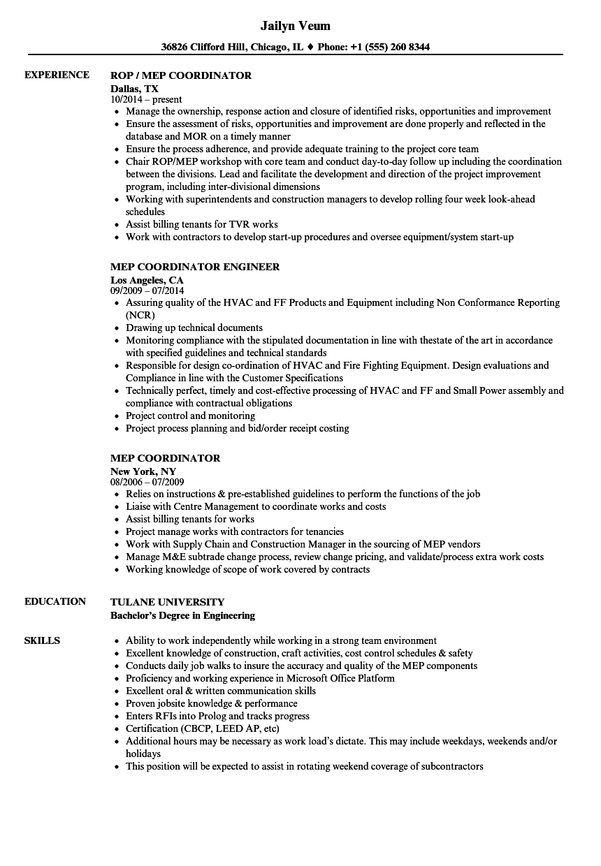 Mep Coordinator Resume Samples Velvet Jobs