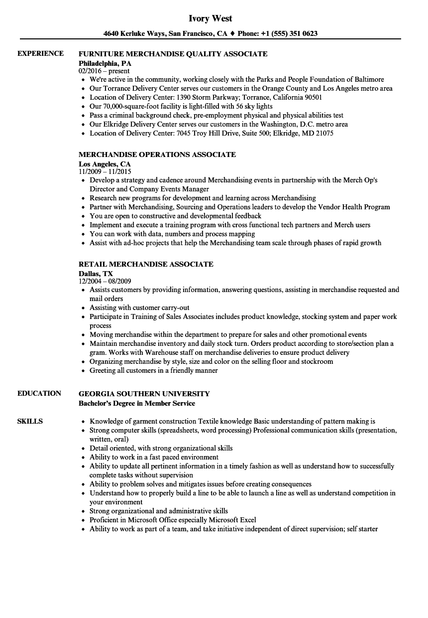 Exceptional Download Merchandise Associate Resume Sample As Image File