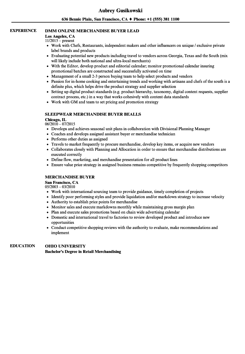 merchandise buyer resume samples