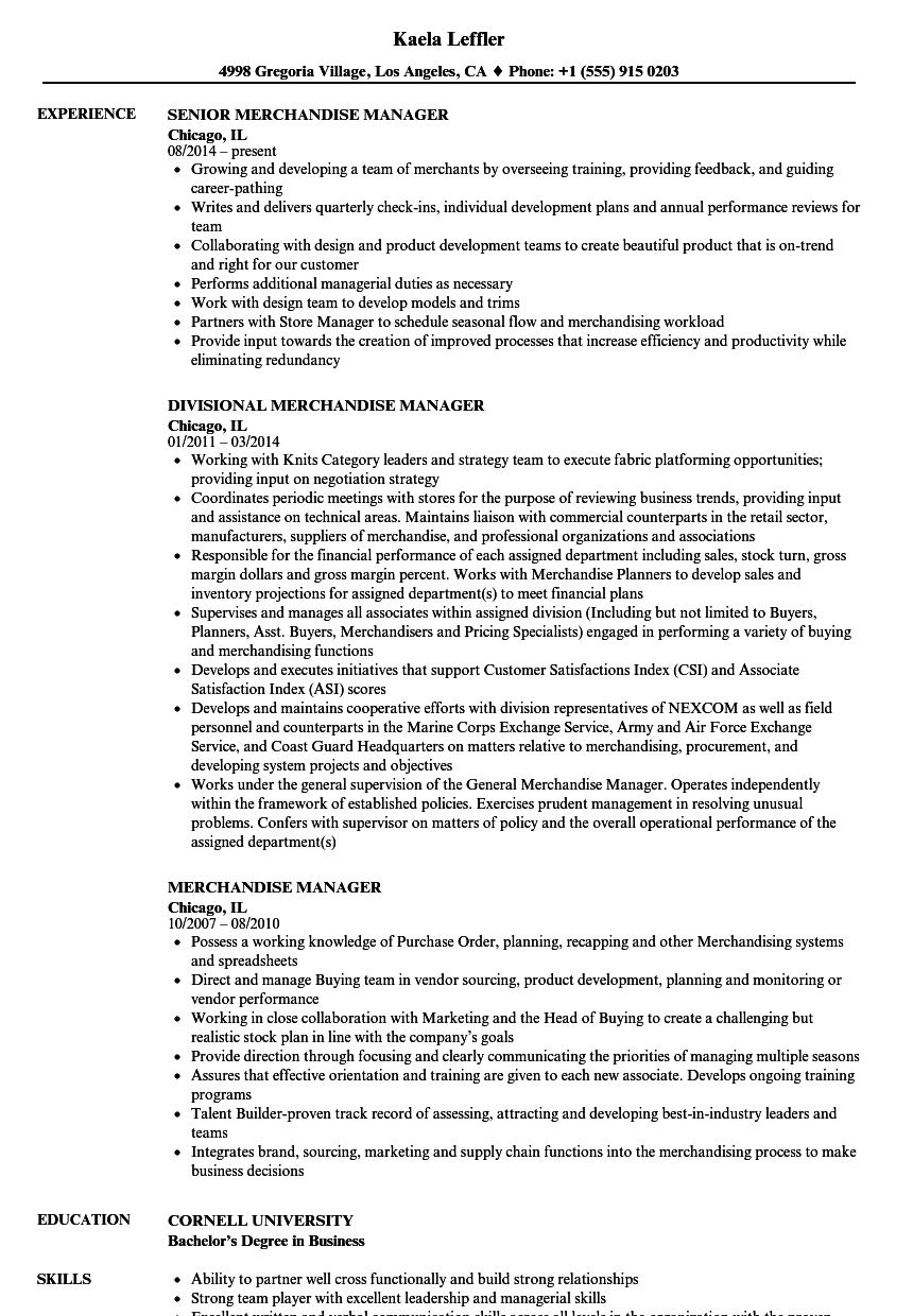 Merchandise Manager Resume Samples | Velvet Jobs