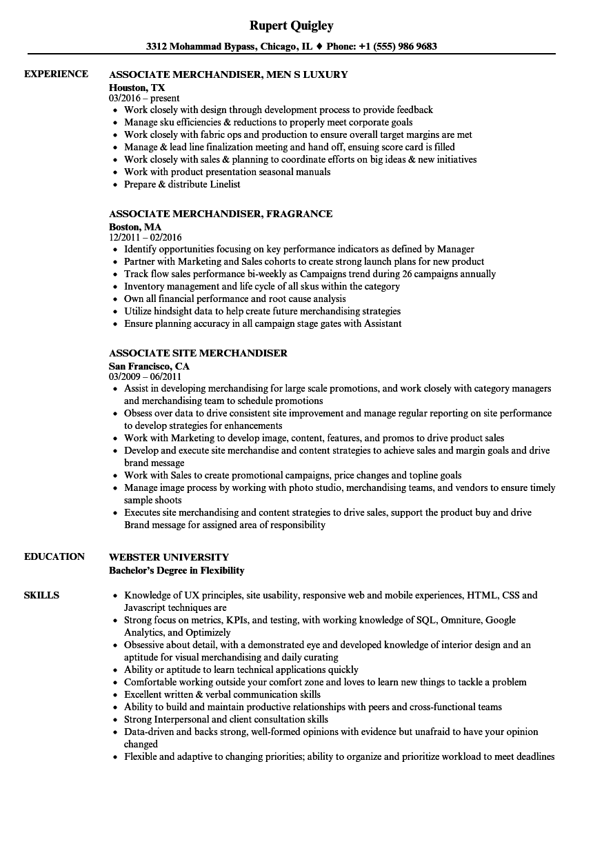 merchandiser associate resume samples  velvet jobs