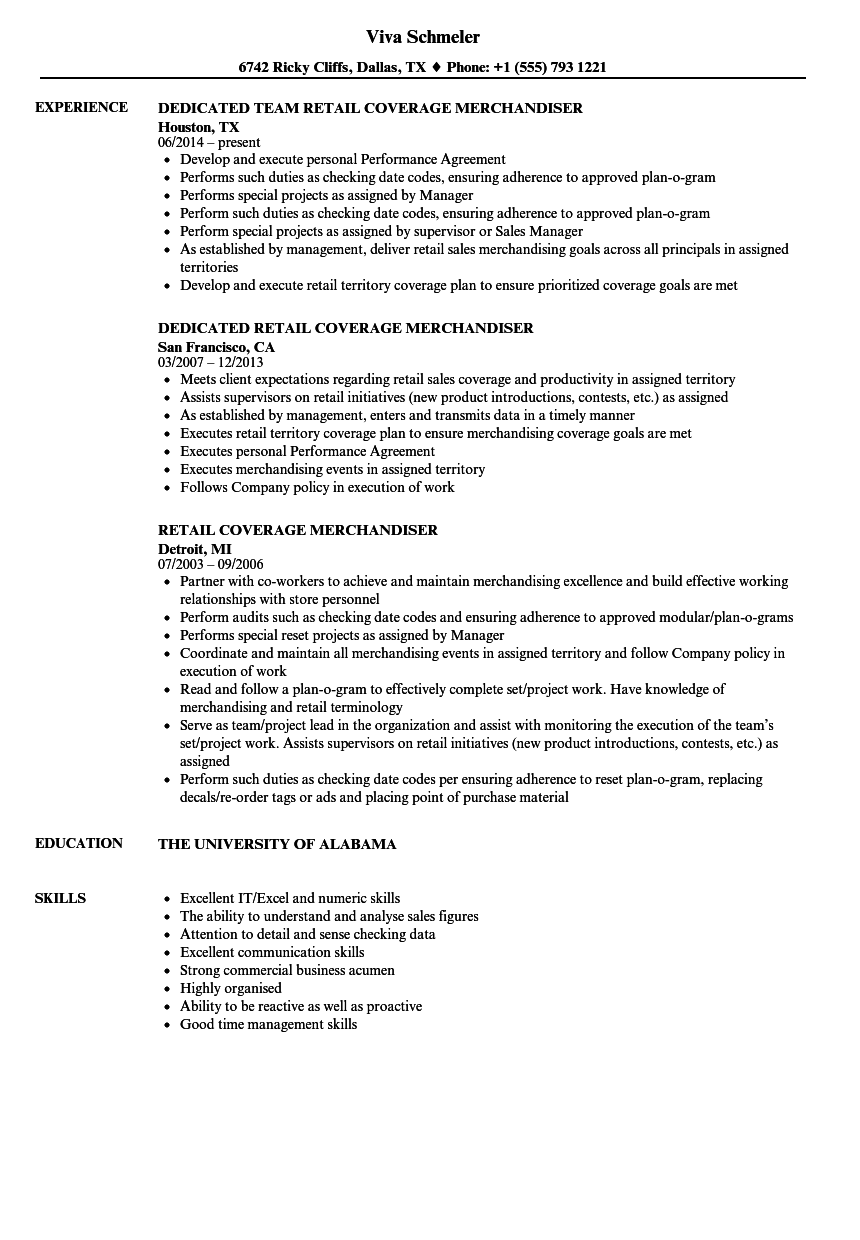 merchandiser  retail resume samples