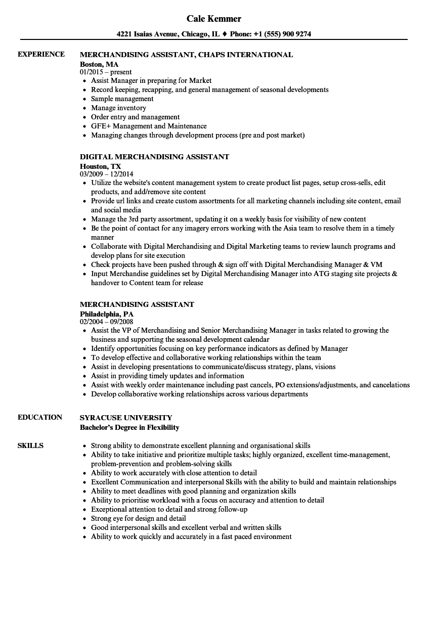 merchandising assistant resume samples