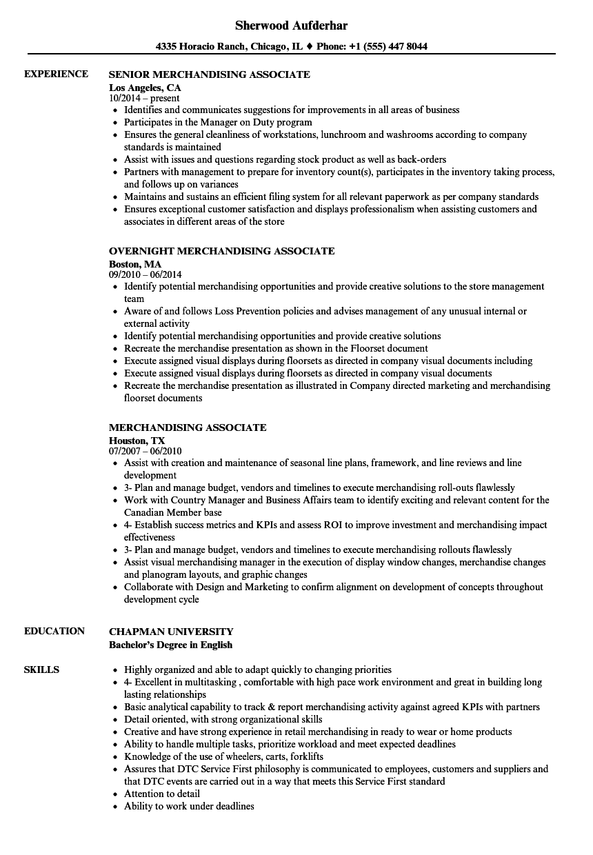 Merchandising Associate Resume Samples Velvet Jobs