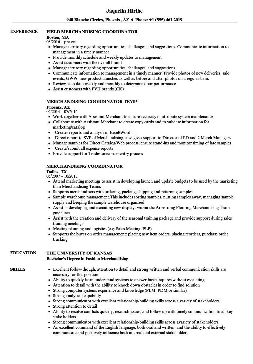 merchandising coordinator resume samples