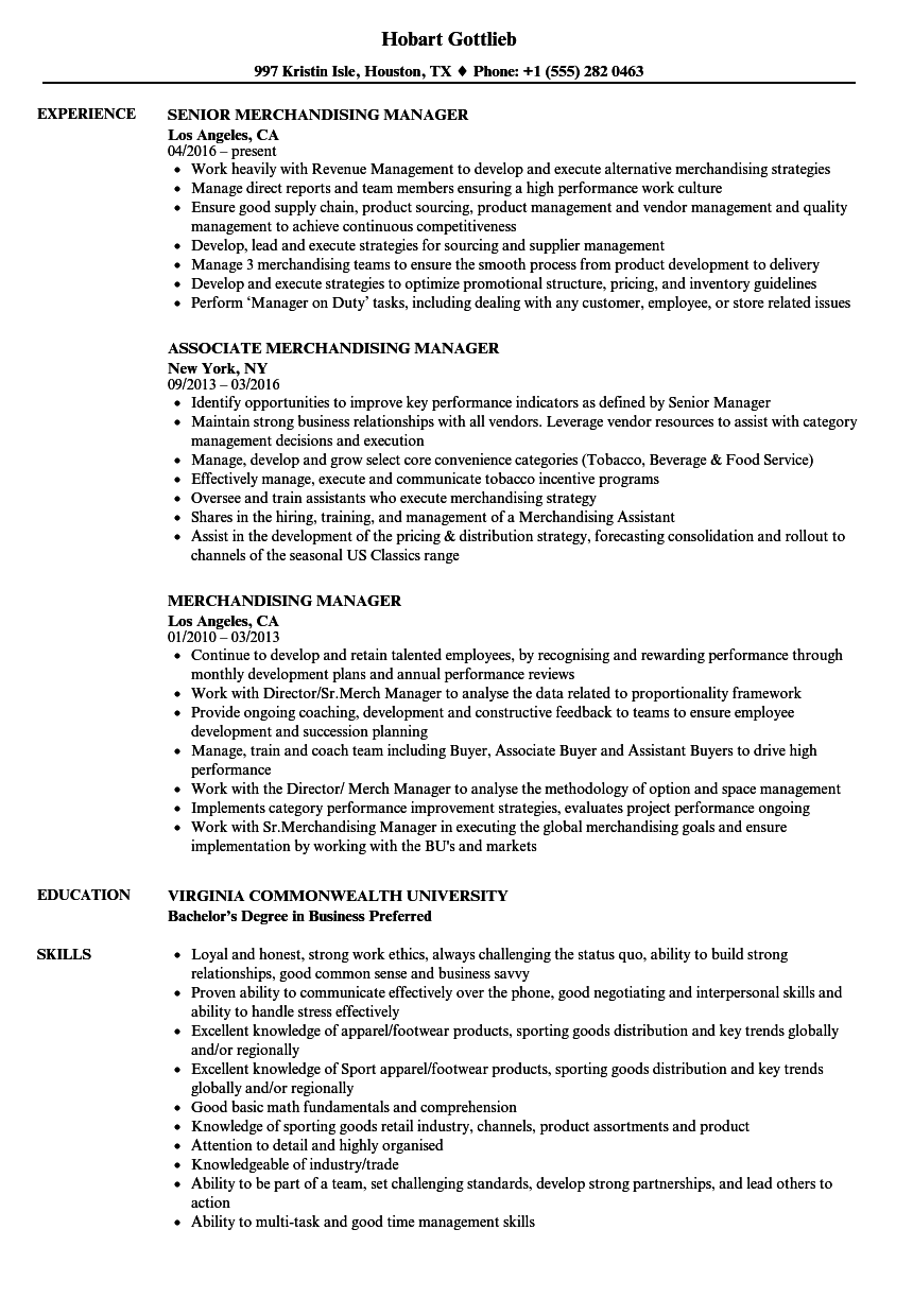 Merchandising Manager Resume Samples | Velvet Jobs