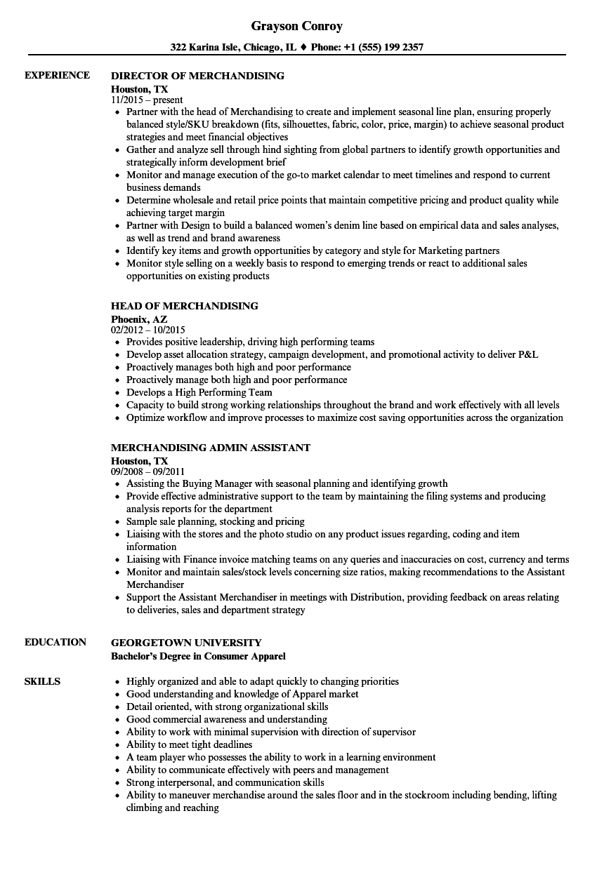 merchandising resume samples velvet jobs
