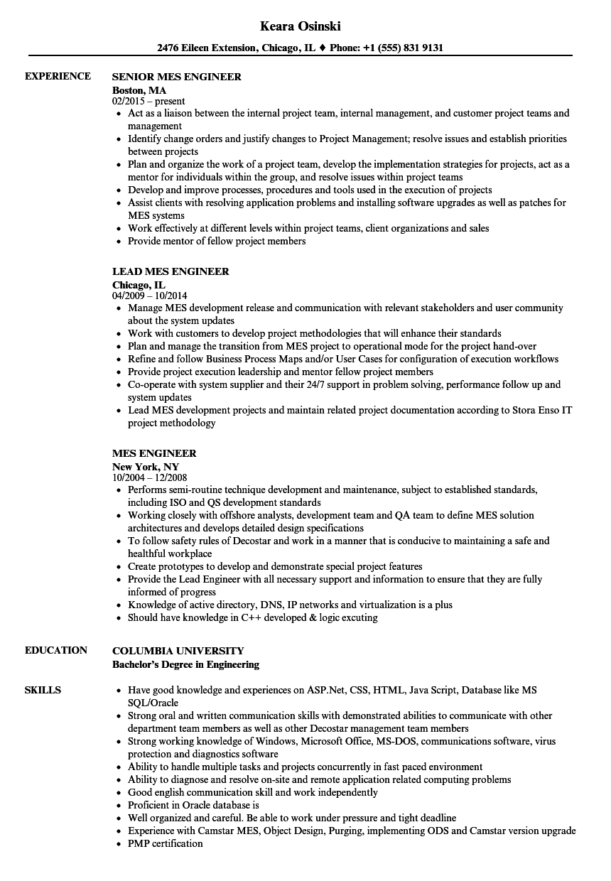 mes engineer resume samples velvet jobs