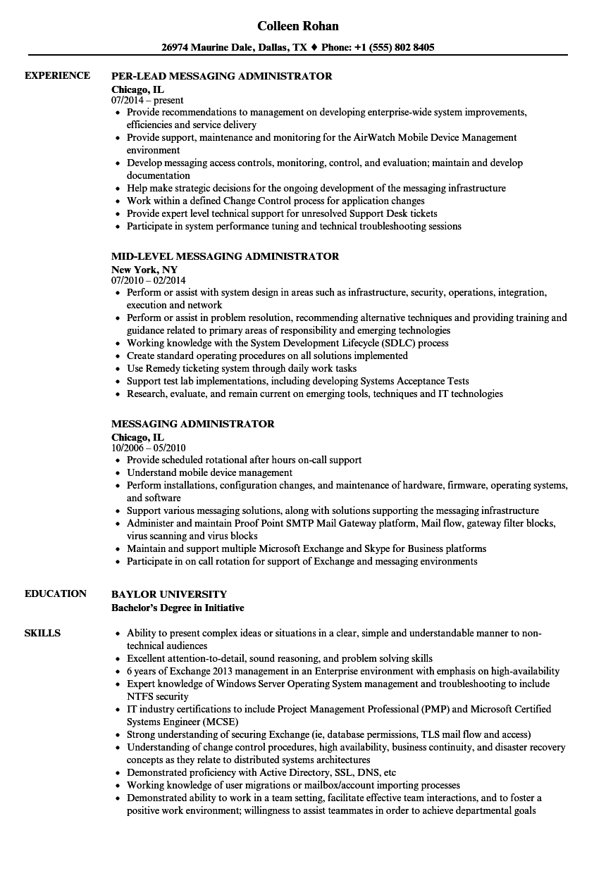Download Messaging Administrator Resume Sample As Image File