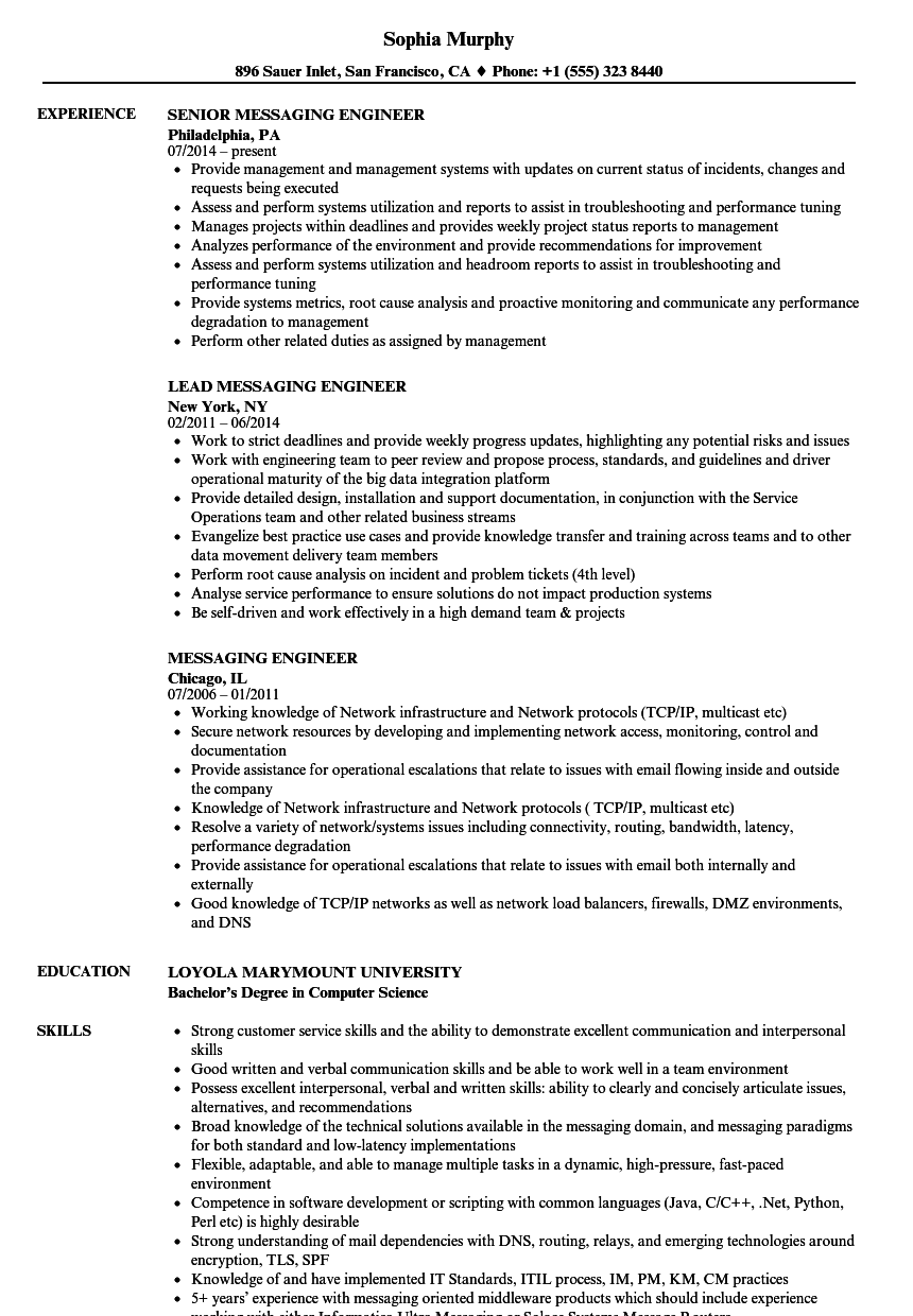 messaging engineer resume samples