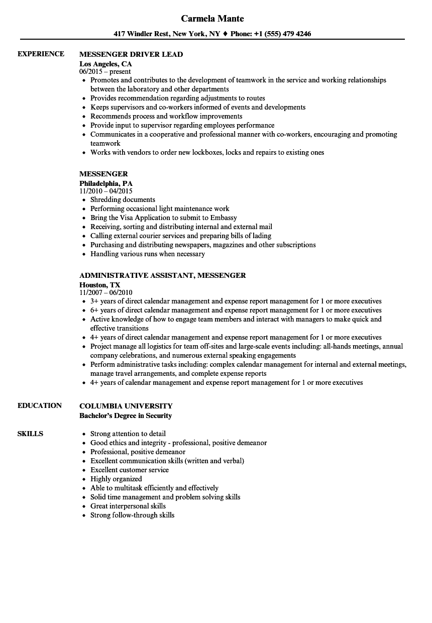 download messenger resume sample as image file - Sample Resume For Driver Messenger