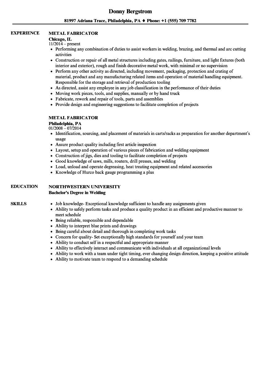 metal fabricator resume samples