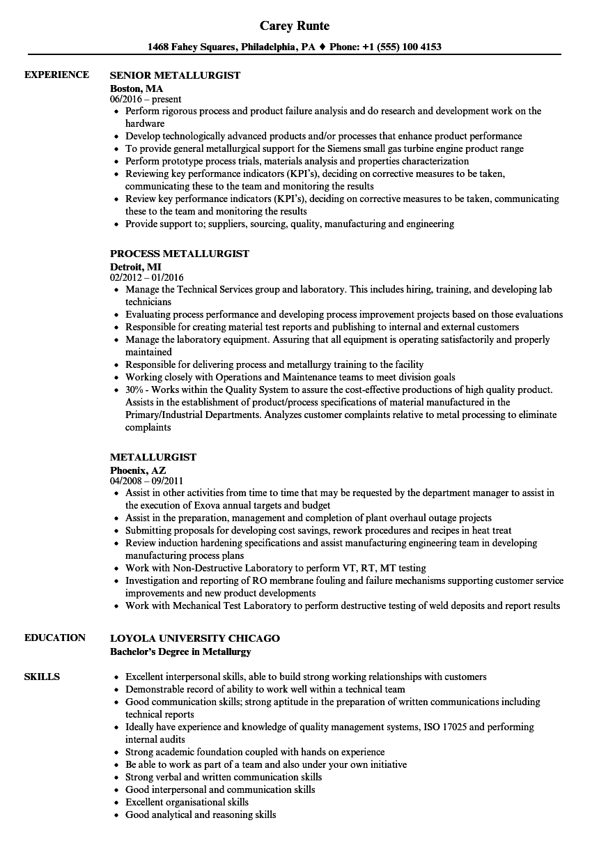 Metallurgist Resume Sample