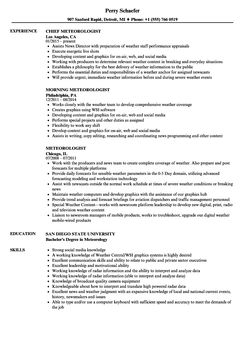 meteorologist resume samples