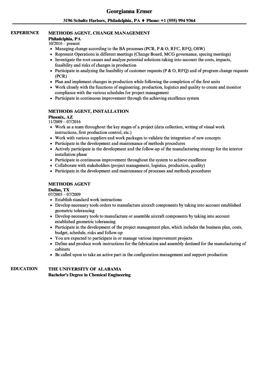 methods agent resume samples