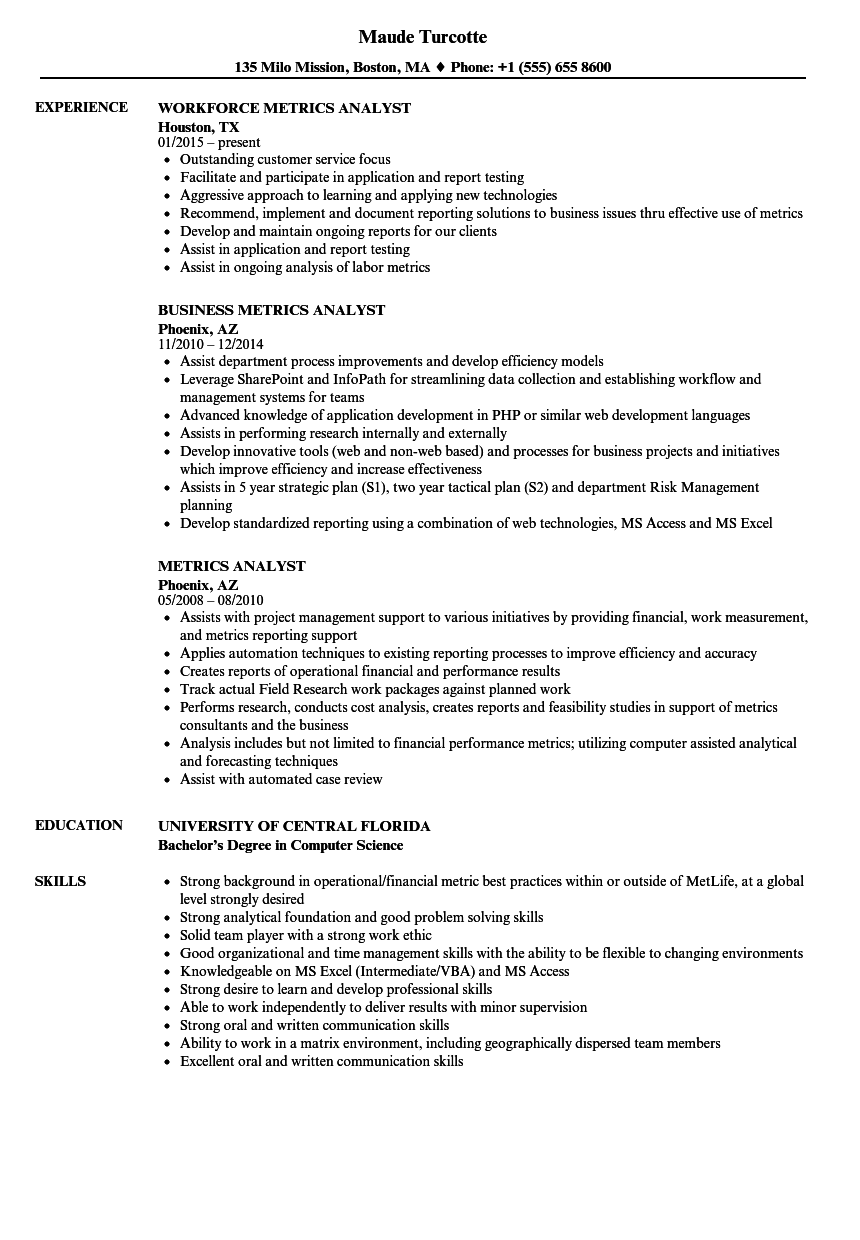 Metrics Analyst Resume Samples | Velvet Jobs