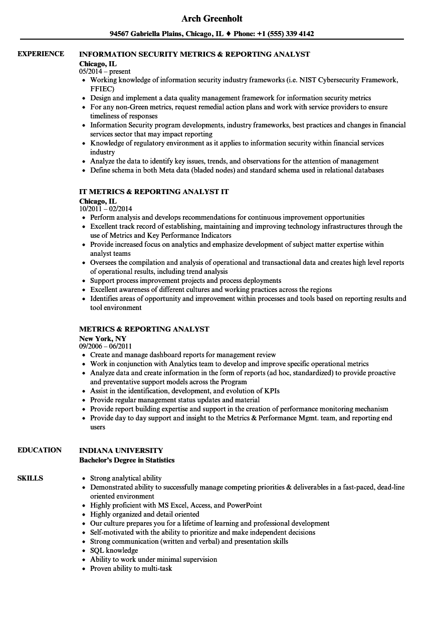 metrics  u0026 reporting analyst resume samples