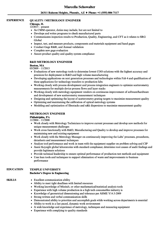 Metrology Engineer Resume Samples | Velvet Jobs