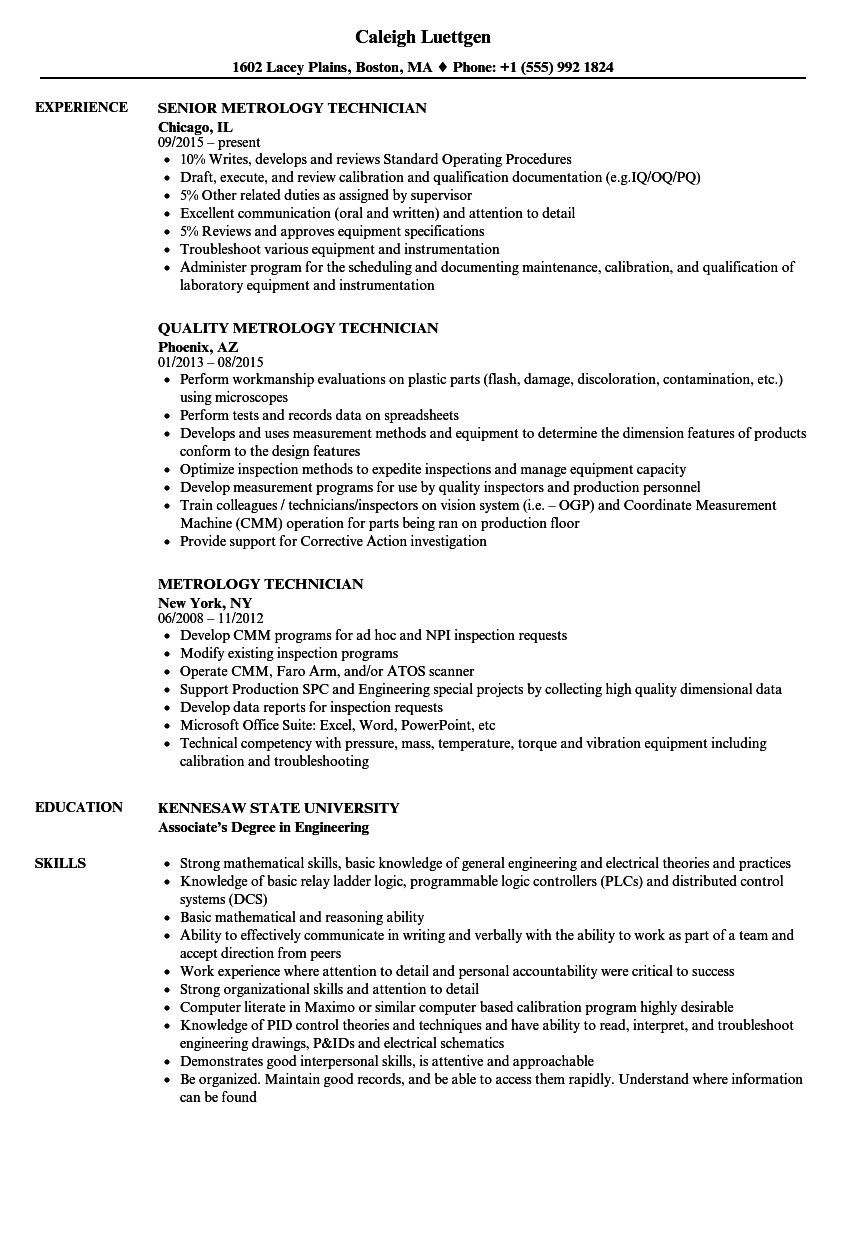 Metrology Technician Resume Samples | Velvet Jobs