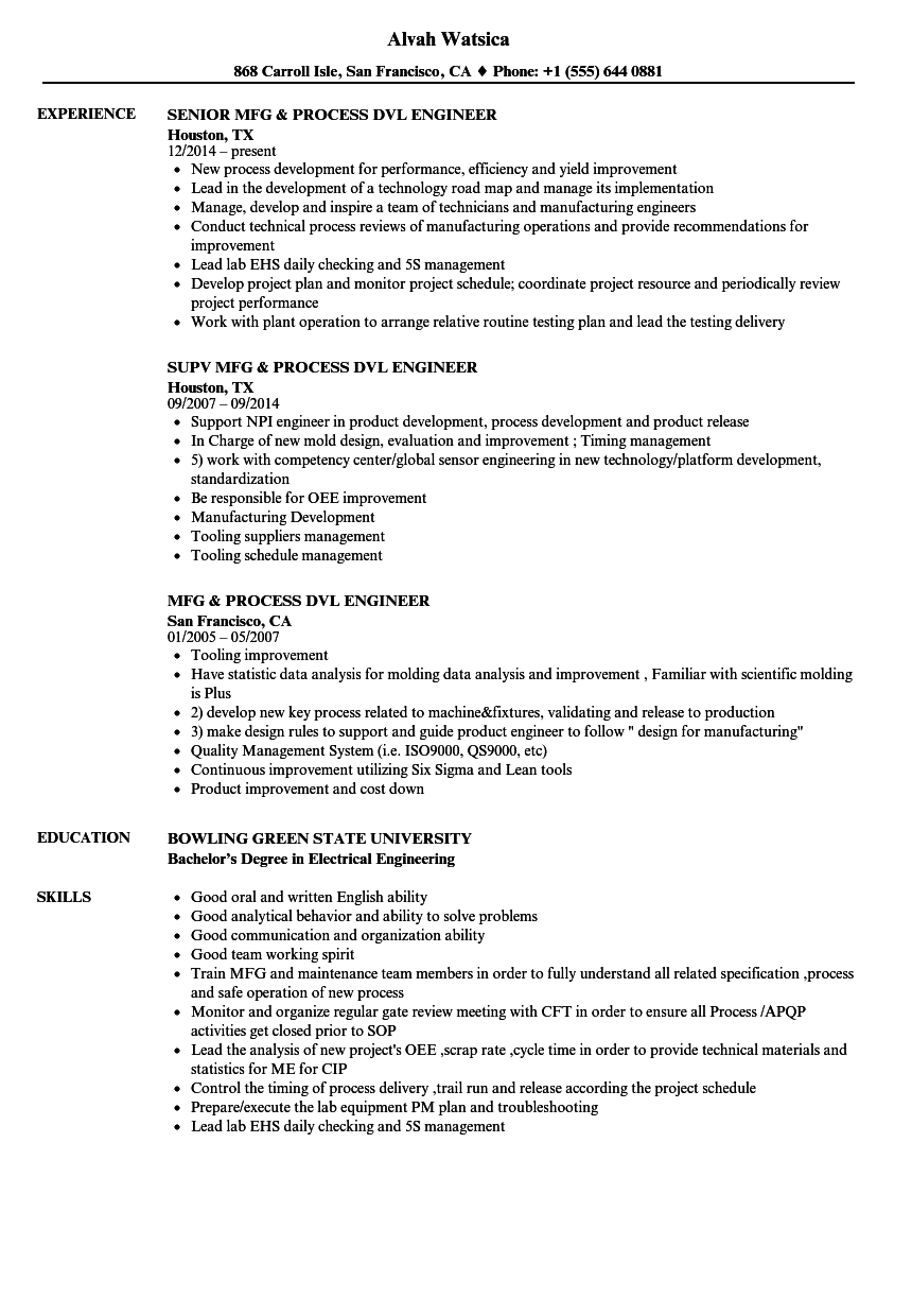 download mfg process dvl engineer resume sample as image file - Electrical Engineer Resume Sample