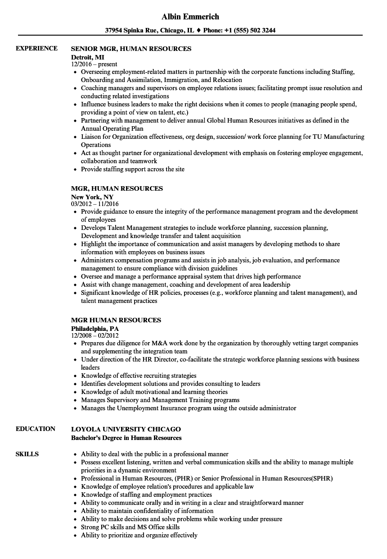 mgr  human resources resume samples
